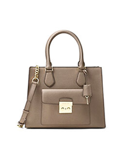 MICHAEL KORS MK Bridgette Dark Dune Medium EW Tote Leather