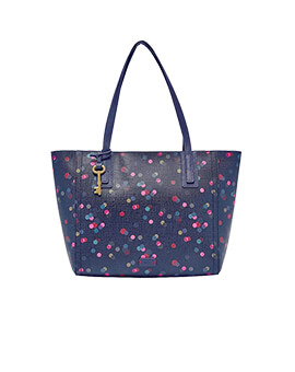 FOSSIL Emma Tote Navy Dots