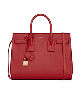 YVES SAINT LAURENT YSL Baby Sac De Jour SDJ in Red Leather