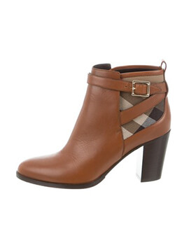 BURBERRY Stebbingford Leather & Check Bootie