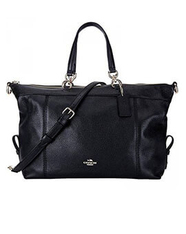 COACH F59325 PEBBLED LEATHER LENOX SATCHEL BLACK