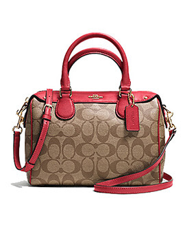 COACH FF58312 Signature Mini Bennet Satchel Brown Rouge