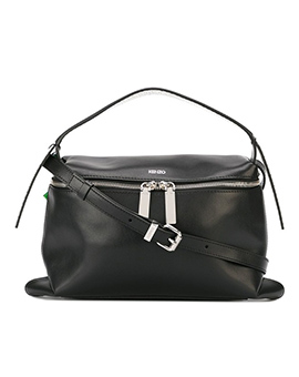 KENZO Rizo Leather Hobo Bag in Black