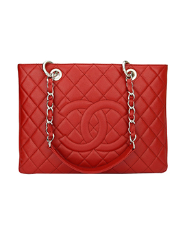 CHANEL Grand Shopping Tote GST Red Cruise SHW #14