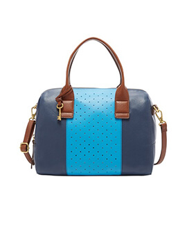 FOSSIL JORI Large Satchel Blue Multi