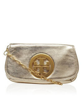 TORY BURCH TB Metallic Clutch