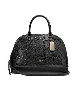 COACH Mini Sierra Black Signature Embossed