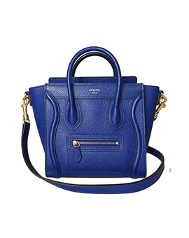 CELINE Nano Luggage in Royal Blue Grained GHW