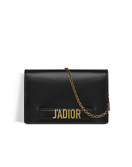 DIOR Ja'Dior Wallet On Chain in Black Calf GHW