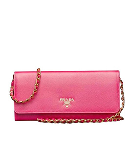 PRADA Saffiano Wallet On Chain in Red
