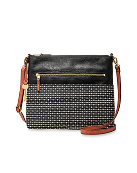 FOSSIL Fiona Large Crossbody Black Stripe