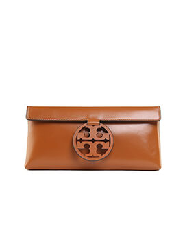 TORY BURCH Miller Clutch in Brown