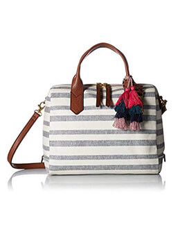FOSSIL Fiona Satchel Blue Stripe