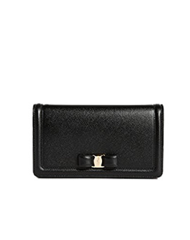 SALVATORE FERRAGAMO SF Vara Wallet On Chain in Black GHW