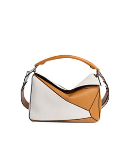 LOEWE Medium Puzzle Bicolor White/Tan Grained Leather