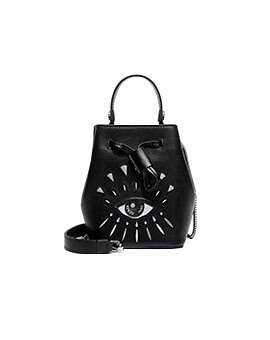 KENZO Embroidery Eye Bucket Bag in Black/Grey Leather