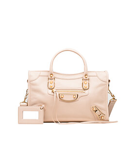 BALENCIAGA Small Metallic Edge City in Tapioca Chevre GHW