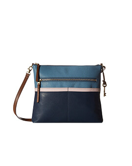 FOSSIL Fiona Large Crossbody Colorblock Blue Multi