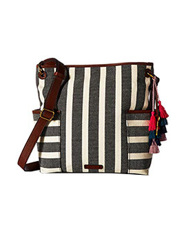 FOSSIL LaneStripe Crossbody Black White