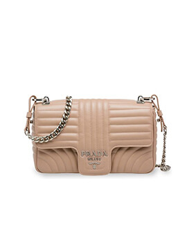 PRADA Large Diagramme Chain Shoulder in Powdery Quilted Leather