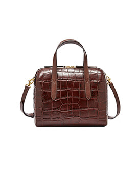 FOSSIL Sydney Satchel Brown Crocco