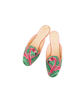 CHARLOTTE OLYMPIA CL Kitty Mules Flamingo