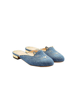 CHARLOTTE OLYMPIA CL Kitty Mules in Blue Denim