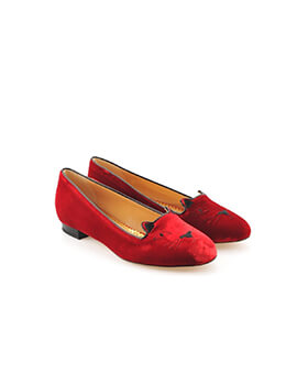 CHARLOTTE OLYMPIA CL Kitty Flats in Red Satin