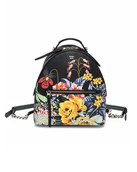 FENDI Small Backpack in Black Printed Flower