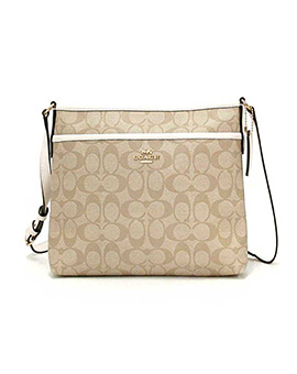 COACH Zip File Crossbody Khaki Chalk