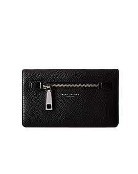 MARC JACOBS GOTHAM PEBBLE BLACK CROSSBODY WALLET