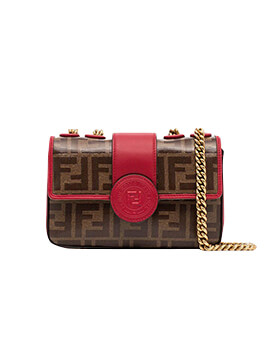 FENDI Double F Mini Flap in Red