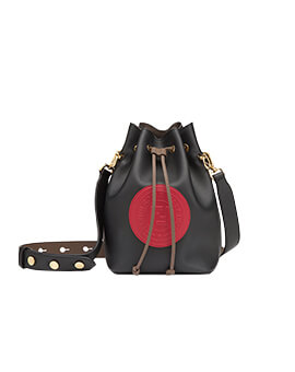 FENDI Mini Mon Tressor in Black/Red