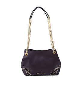 MICHAEL KORS MEDIUM CHAIN TOTE DAMSON SHOULDER BAG