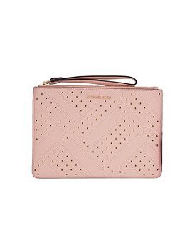 MICHAEL KORS XL ZIP CLUTCH PASTEL PINK