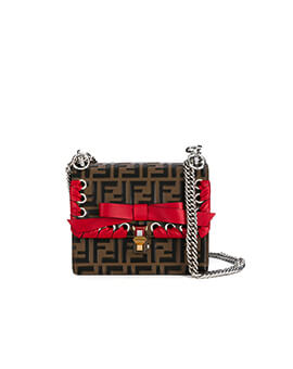 FENDI Mini Kan I FF Logo with Red Bow