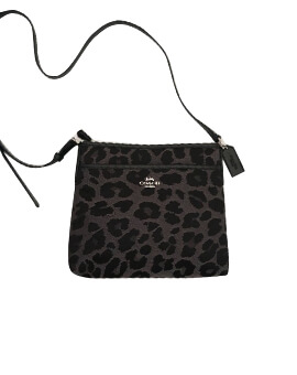 COACH ZIP FILE BAG CROSSBODY LEOPARD GREY