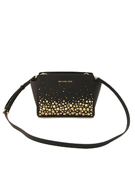 MICHAEL KORS MEDIUM SELMA MESSENGER STUDDED BLACK