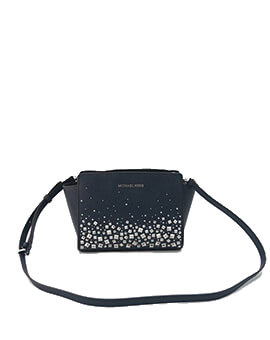 MICHAEL KORS MEDIUM SELMA MESSENGER STUDDED NAVY