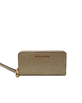 MICHAEL KORS LARGE FLAT PHONE CASE GLITTER GOLD WALLET