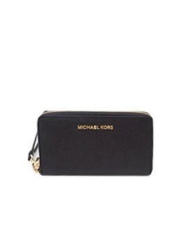 MICHAEL KORS LARGE FLAT PHONE CASE GLITTER BLACK WALLET