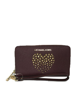 MICHAEL KORS LARGE FLAT PHONE CASE MERLOT WALLET